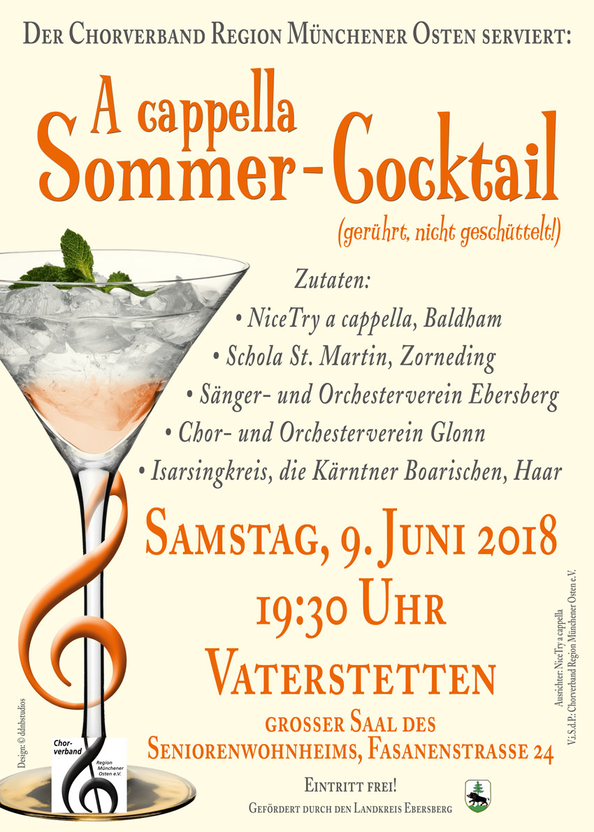 A Cappella Sommer-Cocktail 2018 – das Plakat